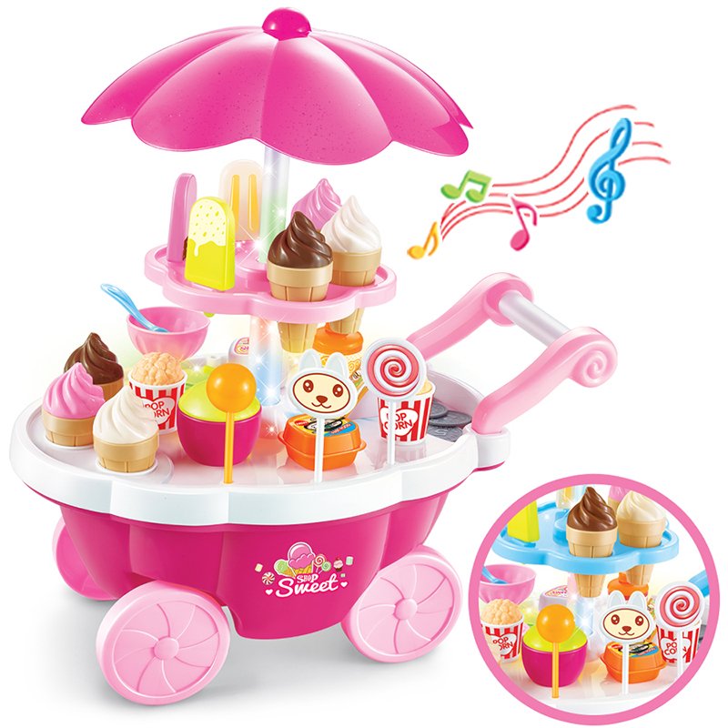Safe ABS Hot 39 Pcs Simulation Small Carts Girl Mini Candy Cart Ice Cream Shop Supermarket Children 's Toys Playing Home Baby To