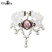 YiYaoFa hecho a mano Vintage encaje gargantilla Collar y colgante gótico falso Collar declaración Collar para Mujer Accesorios señora GN-42