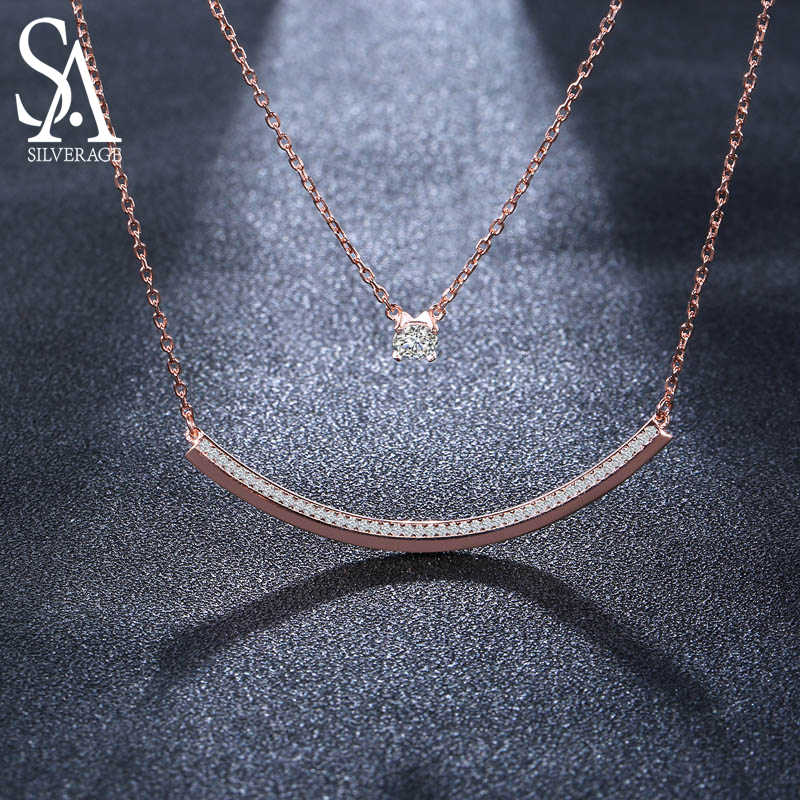 SA SILVERAGE 925 Sterling Silver Two Layer Chain Necklaces Long Bar Pendants Necklace With Round Rhinestone Gold-Color/Silver