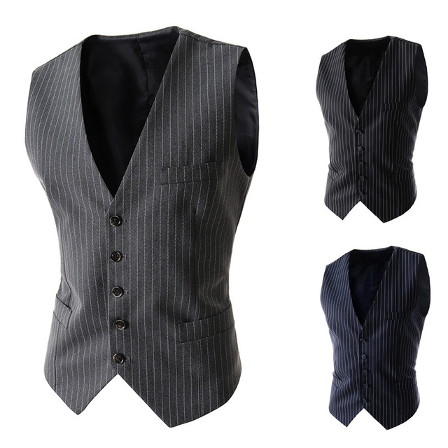2015 New Arrival  Casual Men Waistcoat Stripe Mens Suit Vest Formal Mens Vests Slim Dress Vests for Men Black Gray Navy