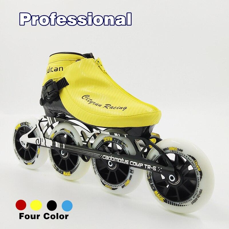 Chaussures de patinage de vitesse professionnelles hommes/femmes bottes en Fiber de carbone patins à roulettes noirs enfant patin à roues alignées 4 gros Patiens ronds en céramique