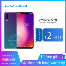 "Umidigi ONE 5.9 ""4 GB 32 ROM Octa Núcleo celular Android 8.1 12MP + 5MP Celular de carregamento sem fio telefone NFC 4g desbloqueado smartphone celular smartfone gsm Android 4g do núcleo do octa Câmera dupla digital(China)"