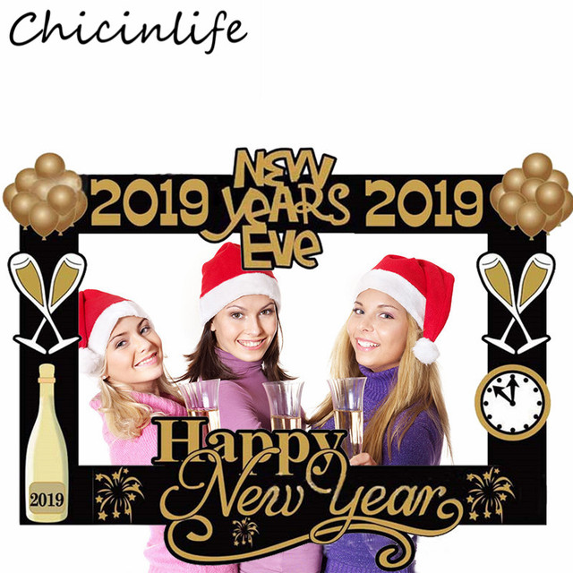 Chicinlife 1pcs Happy New Year 2019 Photo Booth Frame Props New