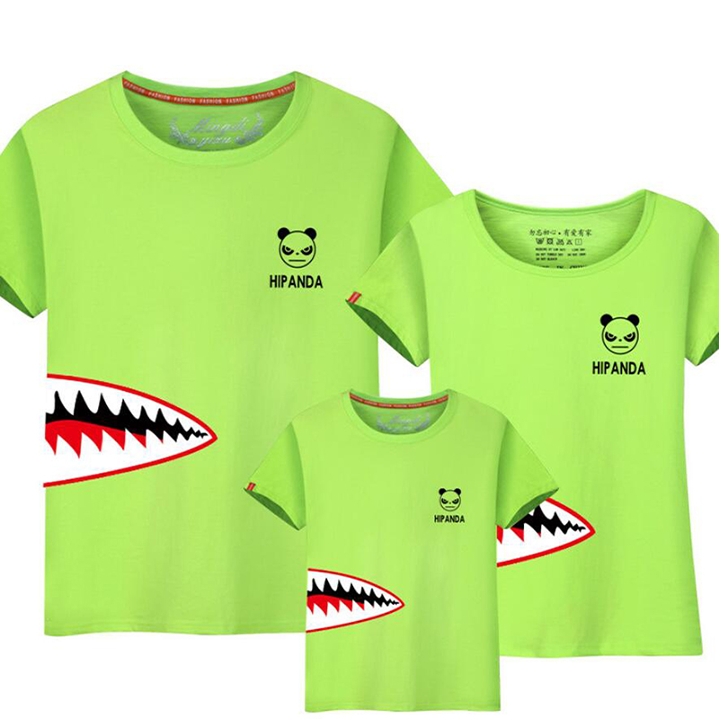US $8 45 30% OFF|Short sleeved Outfits Sister Son Clothing Sharp Tooth  Family Matching Clothes T shirt Parent Child Panda Look Tops-in Matching  Family