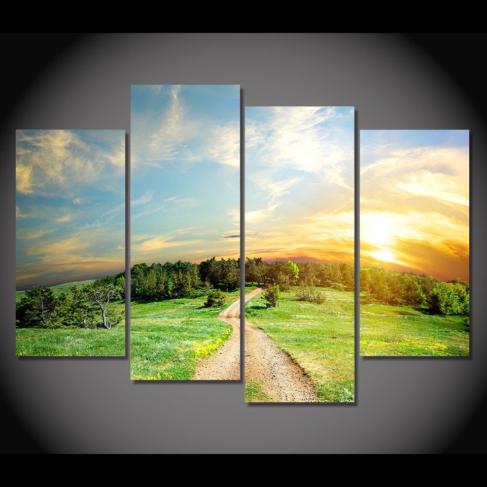 4 Piece Canvas Painting Wilderness Land HD Printed Canvas Art Prints ...