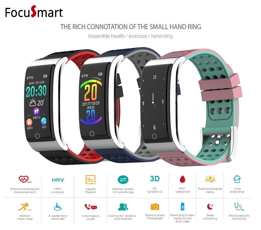 FocuSmart Новый Цвет Экран Смарт Браслет пульсометр артериального давления браслет Фитнес трекер сна монитор