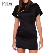 FUDA Explosive Satin Short Sleeve Sexy Button Dress Female Summer Casual O Neck Bodycon Dresses Lady Vintage Party Wear