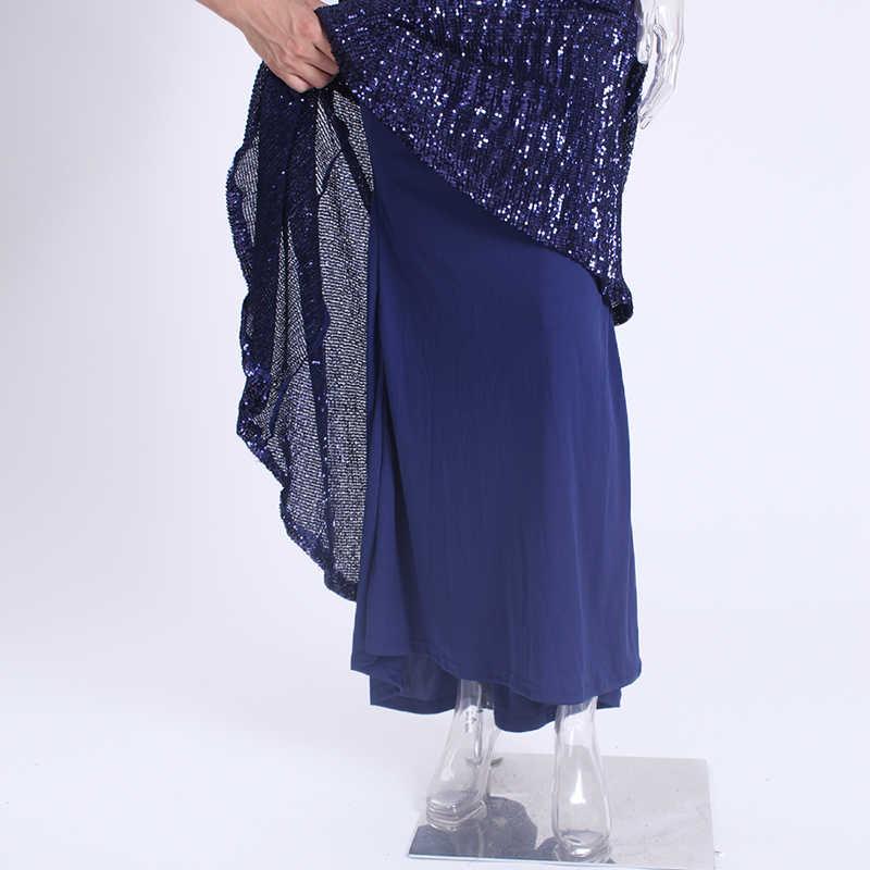 섹시한 블랙 스팽글 스트레치 V 넥 패딩 맥시 드레스 긴 층 길이 안감 긴 소매 다시 어깨 파티 드레스 오프