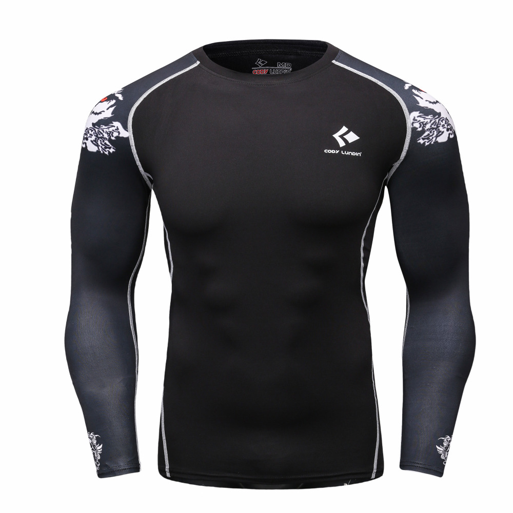 Muscle Men Compression Tight T shirt Long Sleeves Double Sides Prints MMA Rashguard Fitness Base Layer
