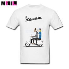 Elastic soft Two Men Riding Vespa Scooter Cartoon Tshirt Big Size Mans Short Sleeve t shirts