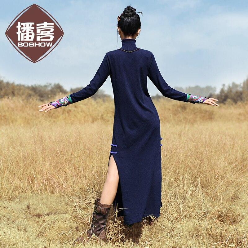 Envío Gratis nueva moda 2019 vestidos largos de media pantorrilla para mujer invierno cálido estilo chino cuello alto bordado vestidos - 2