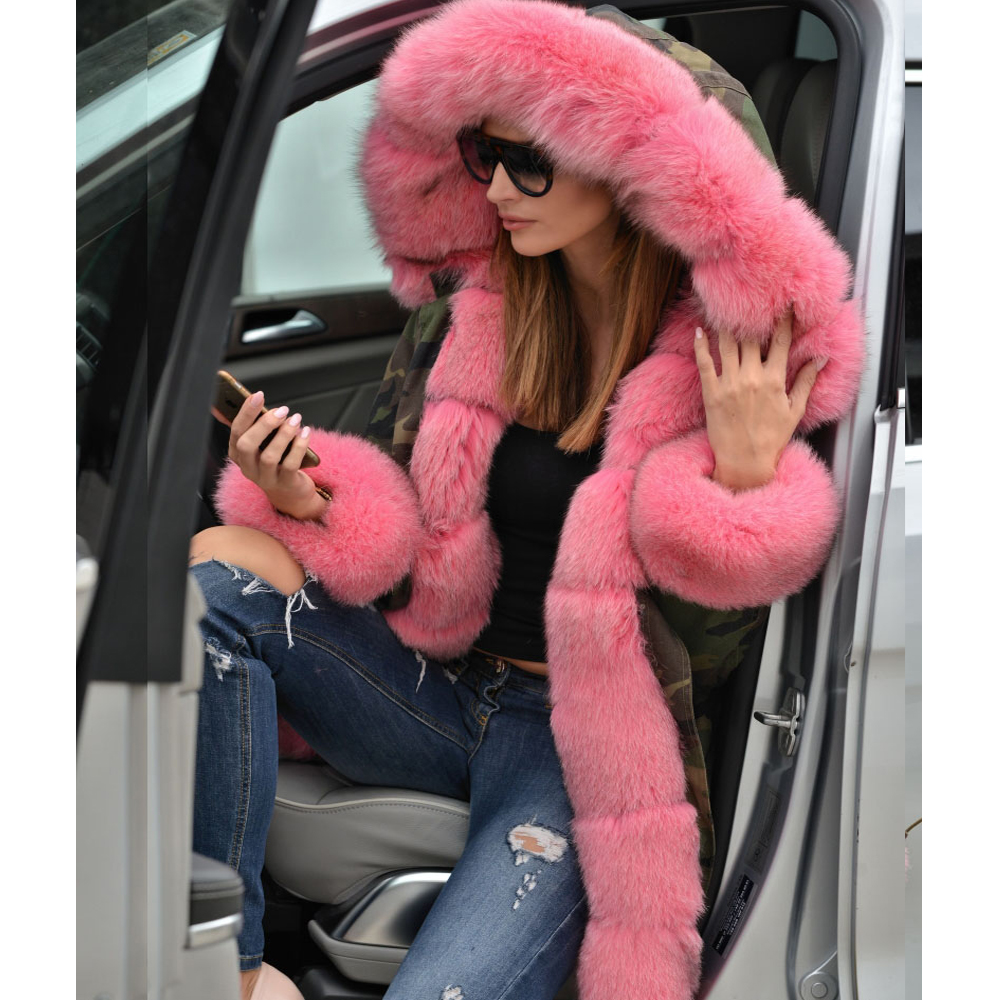 22e85c3313c Roiii Thickened Faux Fur Camouflage Hot Pink Parka Women Hooded Long Winter  Jacket Overcoat US Plus Size S M L XL XXL 3XL -in Parkas from Women s  Clothing ...