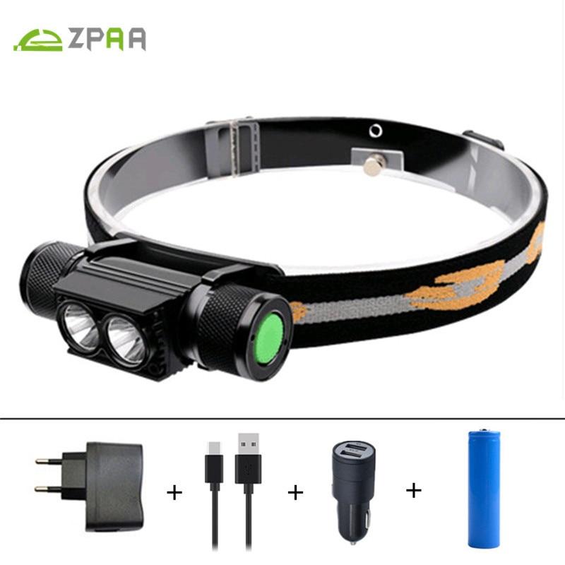 LED Headlamp USB XML T6 L2 Headlight Waterproof Head Flashlight Torch Portable LED Head <font><b>Lamp</b></font> 18650 Rechargeable Outdoor Light