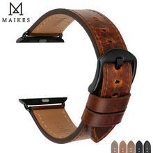 MAIKES 시계 액세서리 정품 가죽 애플 시계 밴드 44mm 40mm & 애플 시계 밴드 42mm 38mm 시리즈 4 3 2 1 시계 줄