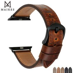 MAIKES Watch Accessories Genuine Leather For Apple Watch Band 44mm 40mm & Apple Watch Bands 42mm 38mm Series 4 3 2 1 Watch Strap