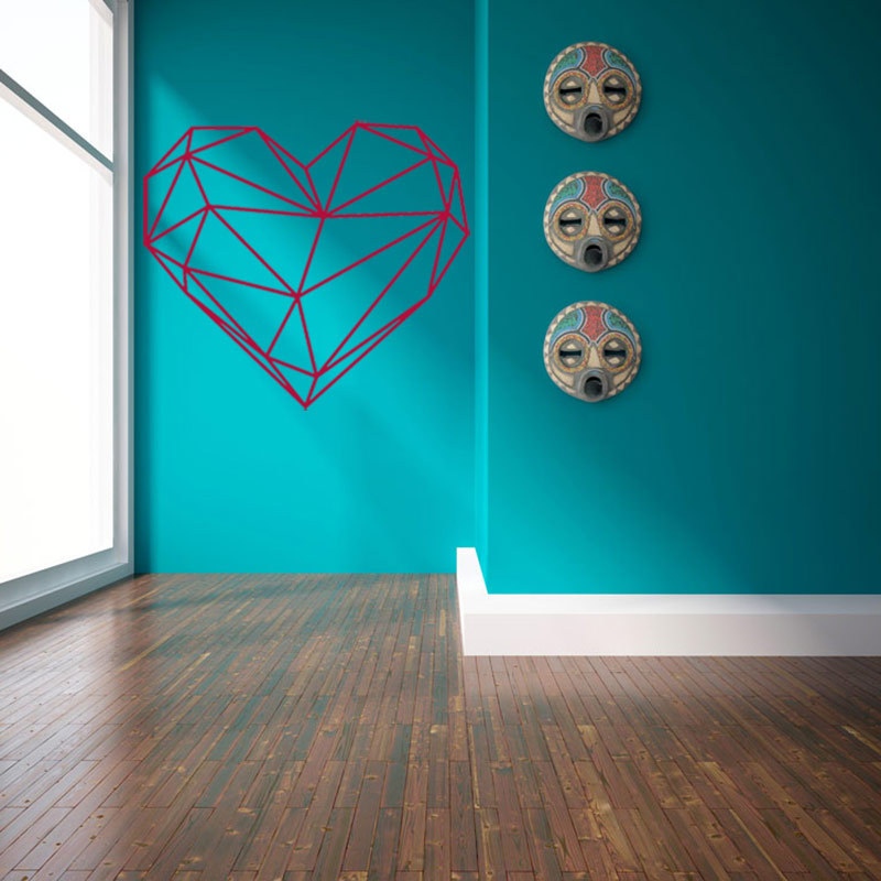 nordic style unique geometry heart sticker pvc wall stickers home wall decoration bedroom living room childrens bedroom furniture sticker style