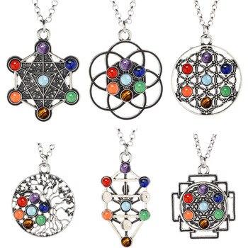 Reiki 7 perles en cristal Chakra pendentif en pierre naturelle Quartz m ditation collier de gu