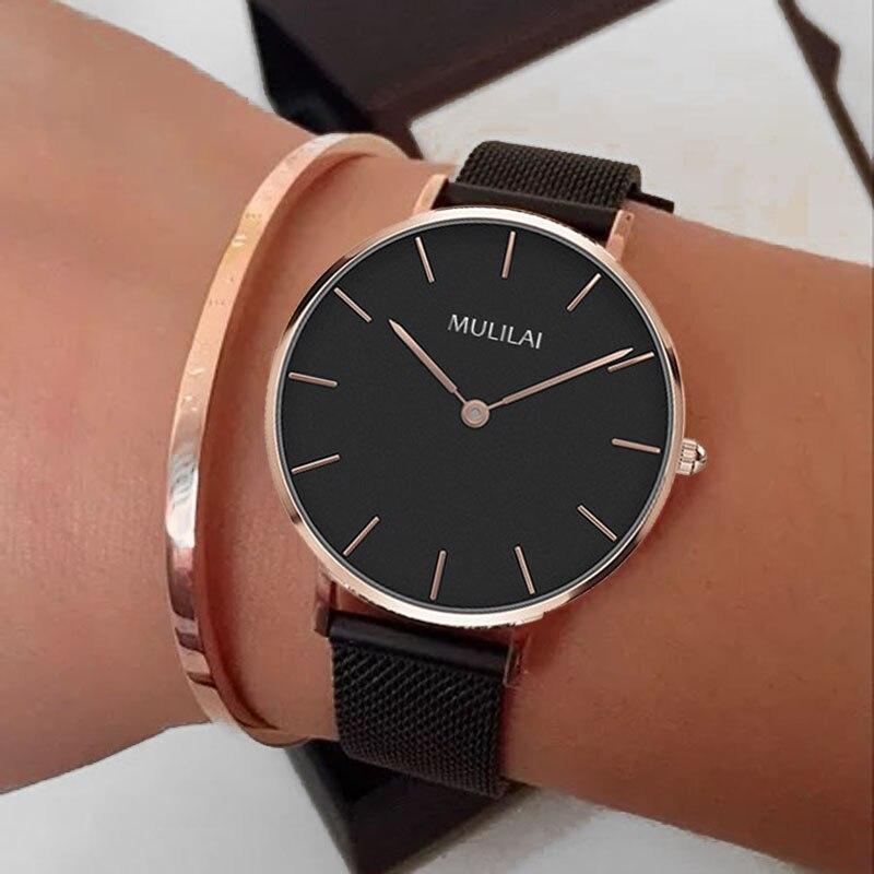 2018 nuevo reloj de pulsera rosa para mujer, reloj de pulsera de cuarzo de marca para mujer, reloj de pulsera de cuero con aguja para mujer, reloj femenino