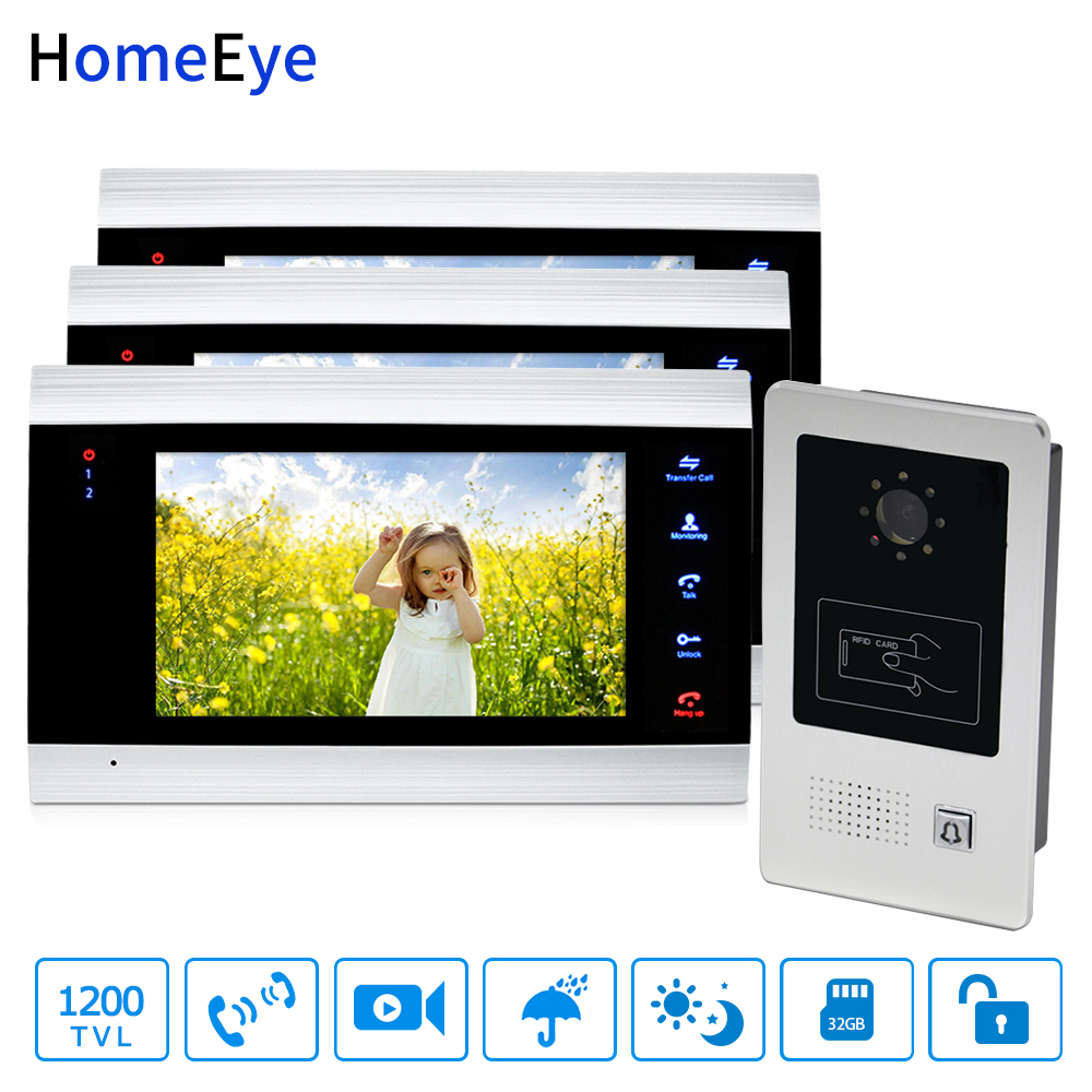 HomeEye 7'' Video Door Phone Video Door Bell Home Access Control System 1-3 1200TVL Rainproof RFID Motion Detection Touch Button