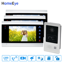 купить HomeEye 7'' Video Door Phone Video Door Bell Home Access Control System 1-3 1200TVL Rainproof RFID Motion Detection Touch Button по цене 18163.79 рублей