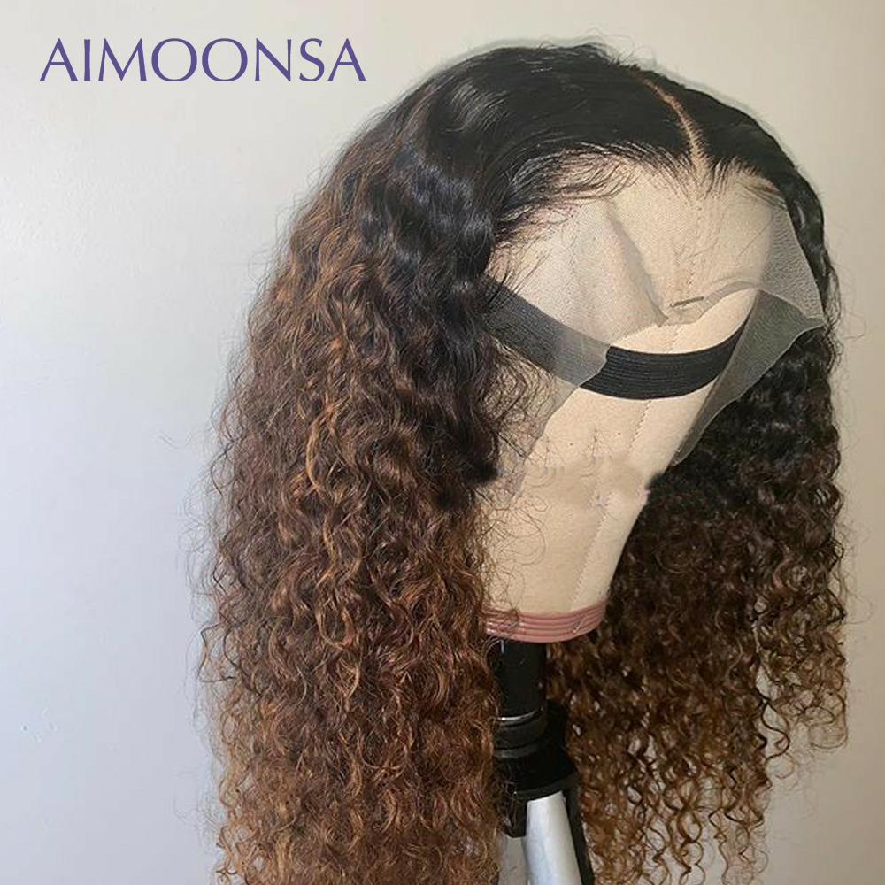 1B/30 Ombre Wig 13x6 Lace Front Wig Mongolian Kinky Curly Hair Colored Human Hair Wigs Natural Hair For Women Remy Hair Aimoonsa
