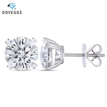 DovEggs 14K White Gold 4CTW 8mm FG Colorless Lab Created Moissanite Diamond Stud Earrings For Women Push Back