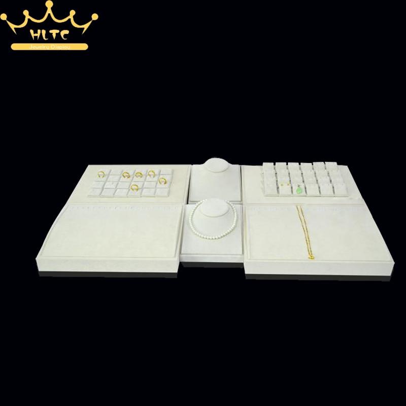 Newest Beige Velvet Portable Jewelry Display Mannequin Set Stand Showcase Ring Necklace Pendant Bracelet Holder Counter Organize