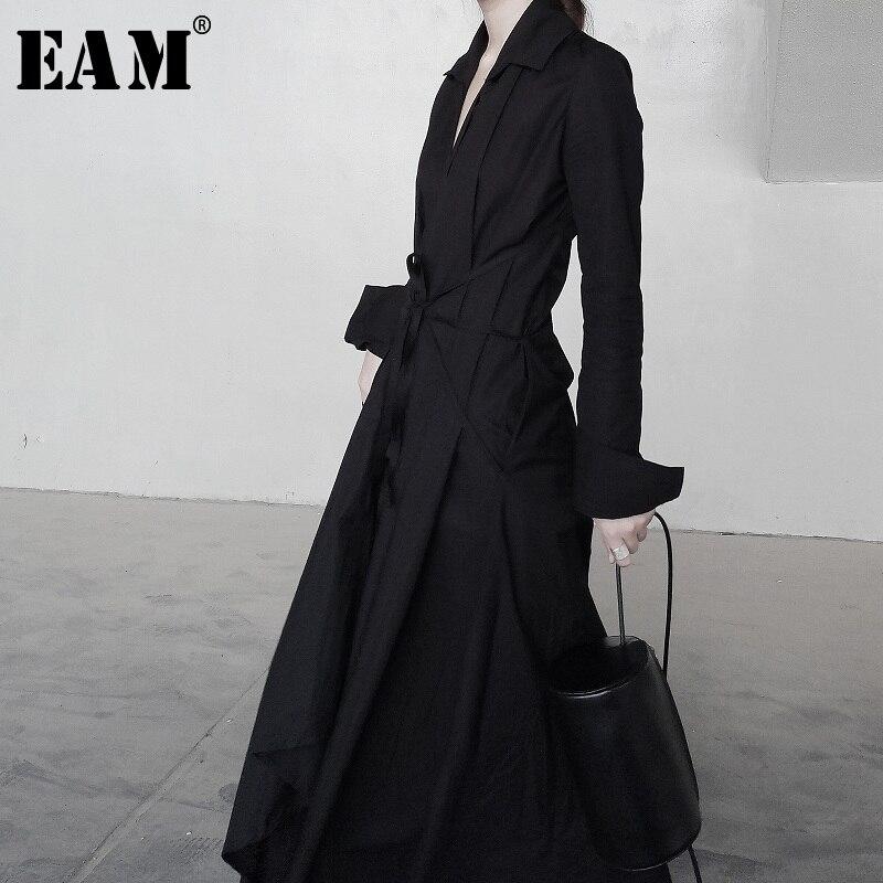 EAM 2019 Spring Winter Woman New Solid Color Long Sleeve V neck Irregular Hem Bandage