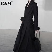 цена на [EAM] 2019 Spring  Winter Woman New Solid Color Long Sleeve V-neck Irregular Hem  Bandage Design Draped Long Loose Dress LE147