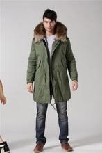 Red Stripe fur inside male coats winter wear keen warm elegant real raccoon fur collar cashmere fur parka