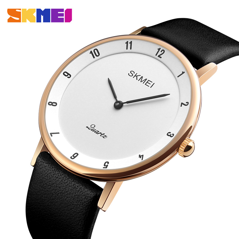 SKMEI Fashion Business Watch Men Luxury Leather Watches Water Resistant Ultra Thin Quartz Wristwatches Male Relogio Masculino