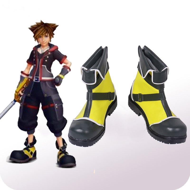 Game Kingdom Hearts 3 Costume Sora Cosplay Boots Leather Yellow Shoes Props Adult Men Halloween Carnival Accessories Custom Made