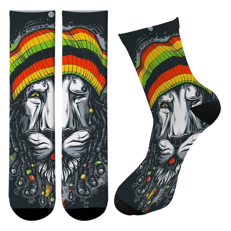 New 3d Printed Cartoon Animals Lion Crew Socks Men Funny Tiger Dog Long Socks Lovely Cute Trend Street Corgi Tube Socks