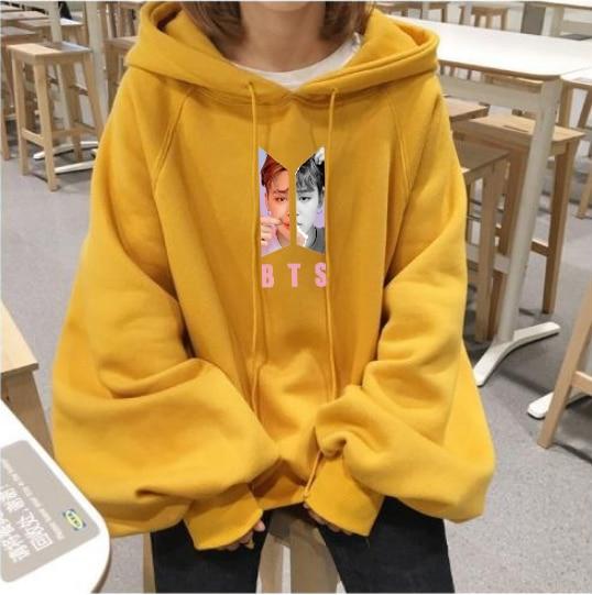 BF Kpop 2019 Spring Korean Album Love Yourself Harajuku Loose Lantern Sleeves Ulzzang Yellow Hooded Sweatshirt Women