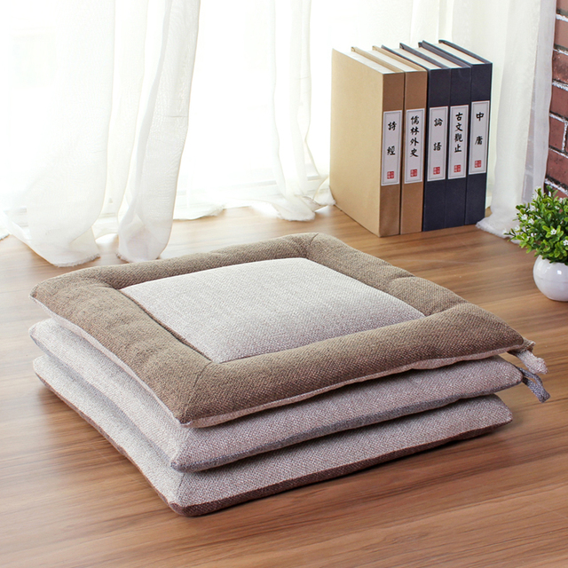 Linen Chair Cushion Thin Office Computer Square Tatami Cushions Floating Window Floor Dining
