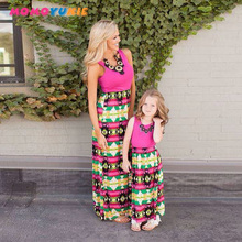 mother daughter dresses family matching outfits sleeveless striped patchwork mom and baby girl kid casual maxi dress vertical striped patchwork expansion maxi dress