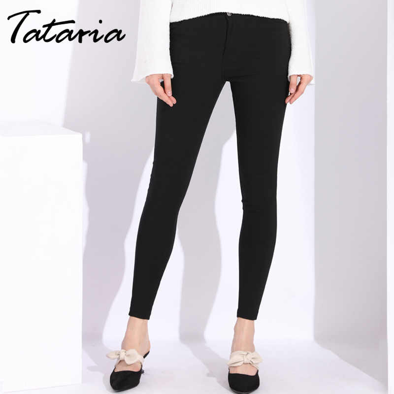 Autumn Fashion Slim Trousers For Women Cotton Leggings Outwear Stretch Trousers Black Pants Women High Waist Skinny Pencil Pants