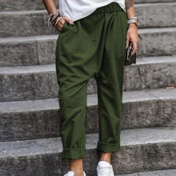 5XL Plus Size Harem Pants Solid Loose Cotton Linen Pants Pockets Casual Elastic Waist Female Clothes Summer Vintage Bottom 2