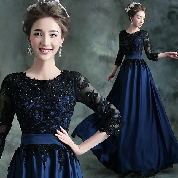 2018 New Mother of The Bride Dress The Banquet Lace Elegant Gold and Navy Blue 3/4 Sleeves Satin Sequins Long Party Formal Gown