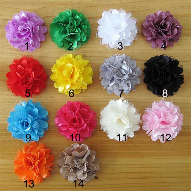 Hot Sale!100pcs/lot 14colors shabby fabric flowers for  girl  headbands hairband hair ornaments diy accessories 50pcs lot 4 1 17colors shabby lace mesh chiffon flower for kids girls hair accessories artificial fabric flowers for headbands