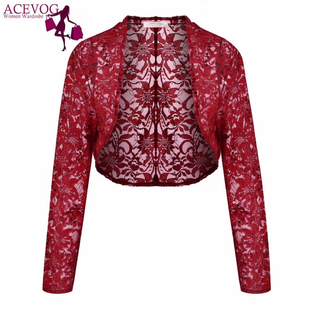 ACEVOG Vintage Women Cardigan Sweater Autumn Elegant Floral Light Lace Crop Shrug Short Shawl Wrap Long Sleeve Jacket Coat