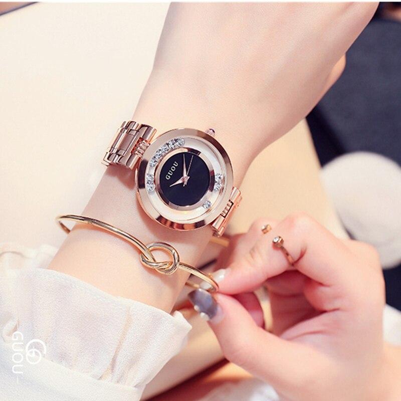 GUOU Glitter Diamond Watch Women Watches Luxury Rhinestone Women's Watches Rose Gold Ladies Watch Clock saat relogio reloj mujer