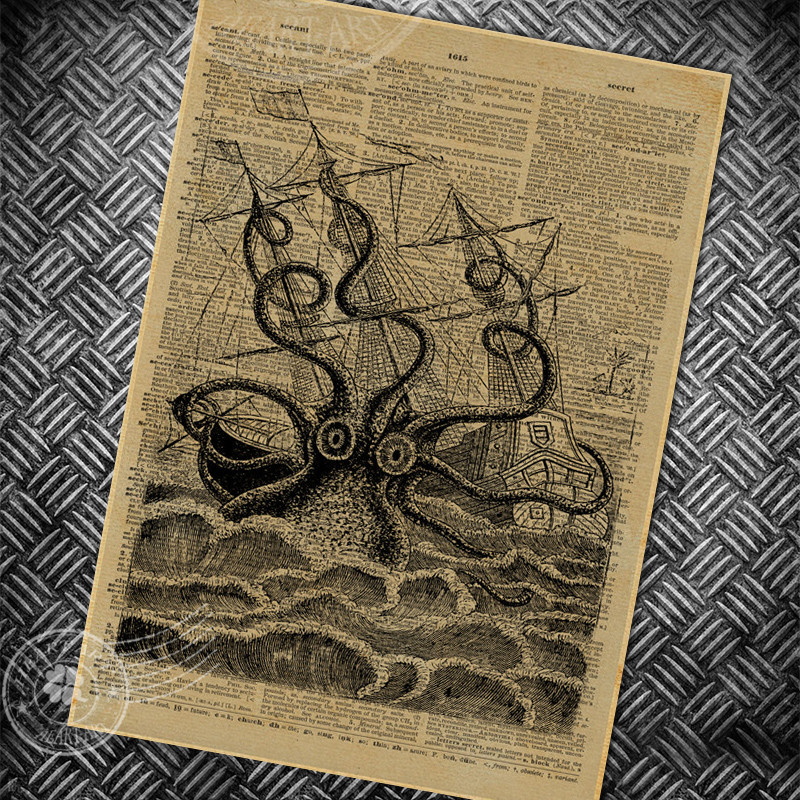 vintage poster retro abstract octopus painting bedroom ...