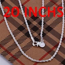Silver Necklace Pendant,925 jewelry silver plated Necklace Shine Twisted Line 2mm 20 inches /IOXGVMGY DCTAZRJB