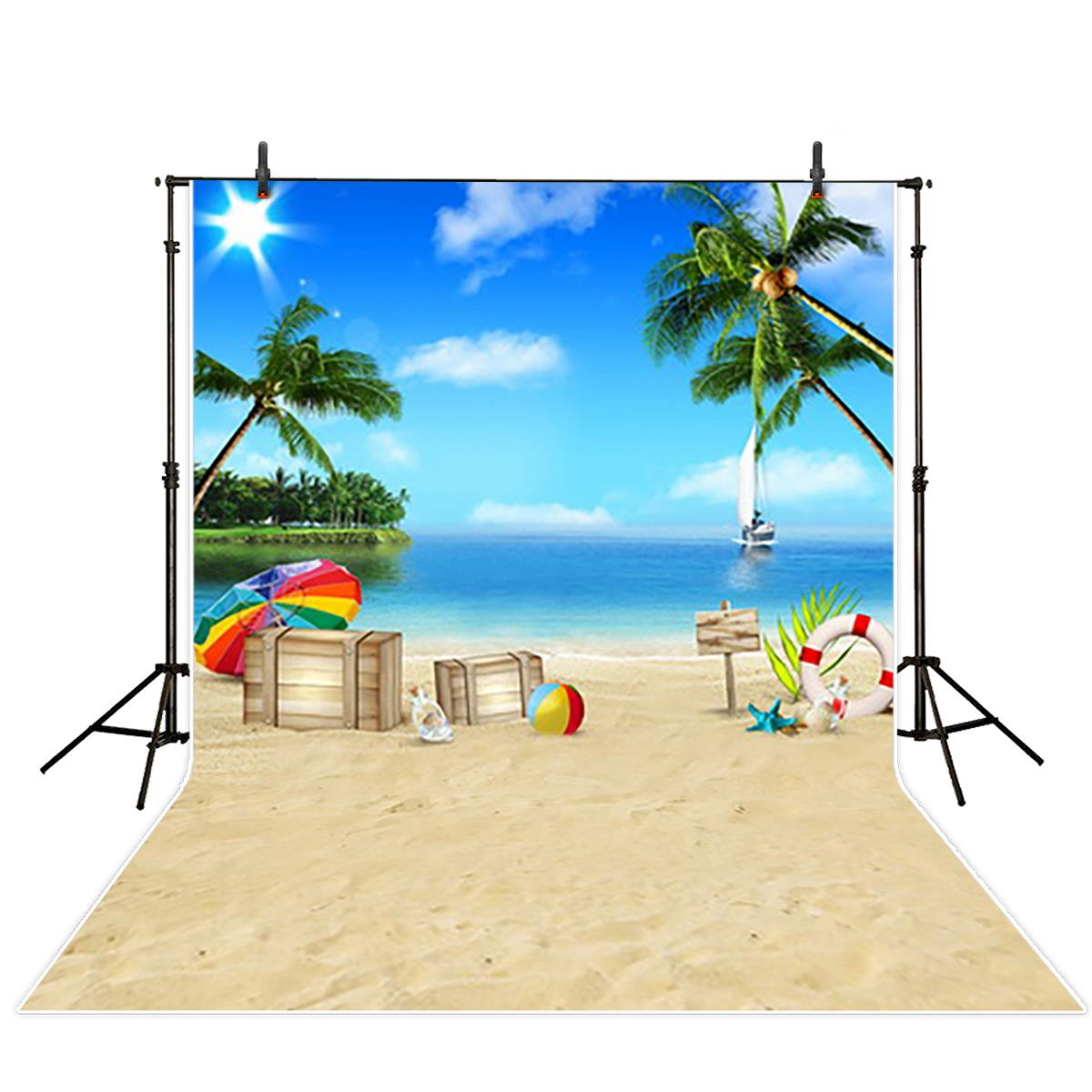 Sun Sky Clouds Sailboat Palm Tree Ocean Beach Hawaii Travel Background polyester or Vinyl cloth Computer print wall backdrop