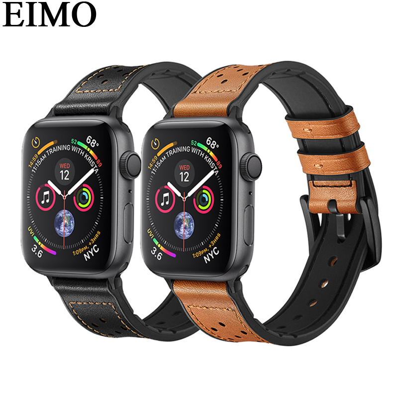 EIMO Genuine Leather+silicone strap for Apple watch band 42mm/38mm 44mm 40mm Iwatch series 4/3/2/1 bracelet Wrist belt watchband eimo silicone watch case strap for apple watch band 42mm 38mm bracelet wrist belt full screen protector case for iwatch 3 2 1