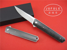 JUFULE 2017 Kwaiken ball bearing Flipper folding knife VG 10 blade Titanium carbon fiber kitchen camping hunting knives EDC tool