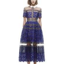 Новое летнее высококачественное кружевное вечернее платье для вечеринок подиума Автопортрет отложной воротник длинное женское платье