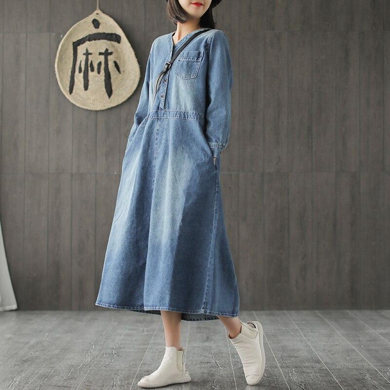 Long denim dress V neck casual long sleeve loose long dress 2019 spring