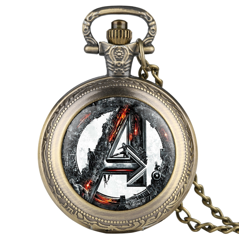 Avengers Age Of Ultron Retro Quartz Pocket Watch Retro Necklace Pendant Chain Fob Watch Men Hours Unisex Gifts For Fans
